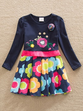 Ericdress Flower Print Bowknot Round Neck Girl's Dress