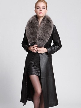 Ericdress Plain Faux Fur Long PU Jacket