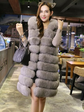 Ericdress Fur Plain Mid-Length Hooded Vest