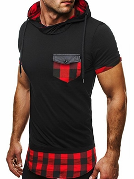 Ericdress Plaid Slim Hooded Short Sleeve Men's T-Shirt