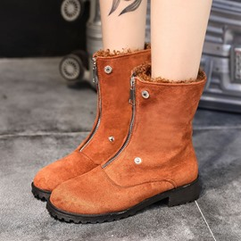 Ericdress Front Zipper Round Toe Women's Ankle Boots