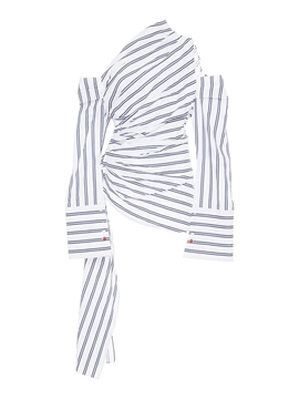 Ericdress Oblique Collar Stripe Cropped Shirt
