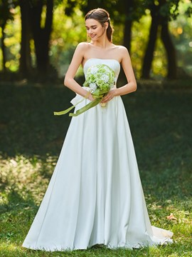 Ericdress Strapless Matte Satin Ball Gown Wedding Dress