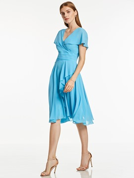Ericdress A Line V Neck Short Sleeves A Line Cocktail Dress