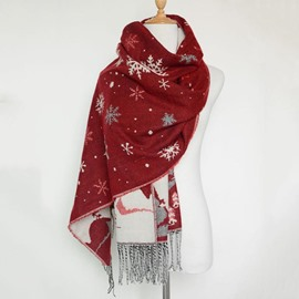 Ericdress Snowflake Tassel Long Scarf for Women Christmas Accessories