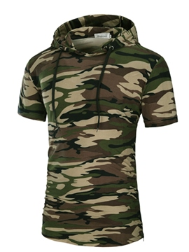 Ericdress Hooded Short Sleeve Camouflage Men's Hoodie