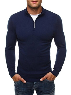 Ericdress Plain Half Zip Slim Men's Sweater