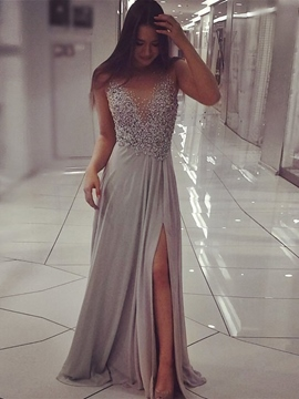 Ericdress Sheer Back Appliques Pearls Prom Dress