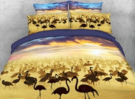 Vivilinen 3D Flamboyance under Cloudy Sky Cotton 4-Piece Bedding Sets/Duvet Covers