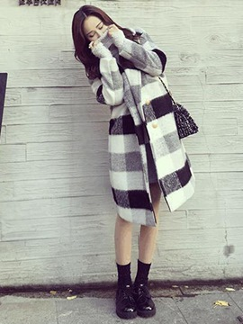 Ericdress Mid-Length Double-Breasted Plaid Coat