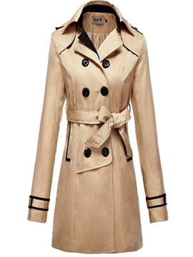 Ericdress Thin Mid-Length Double-Breasted Trench Coat