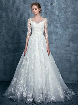 Ericdress Appliques A-Line Wedding Dress with Sleeves