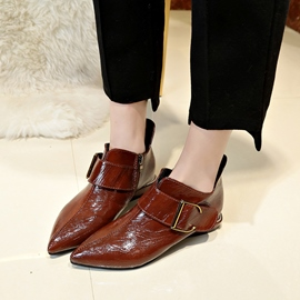Ericdress Plain Buckle Pointed Toe Women's Flat Boots