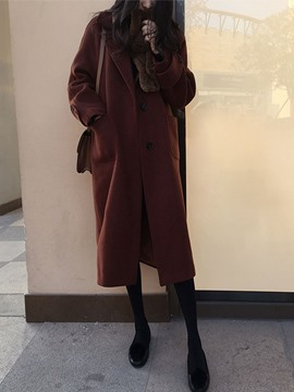 Ericdress Notched Lapel Long Single-Breasted Coat