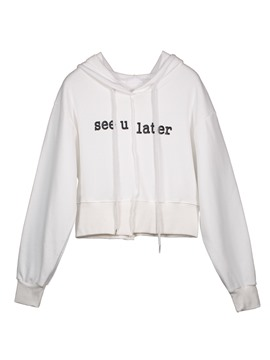 Ericdress Slim Drawstring Letter Print Short Women's Cool Hoodie