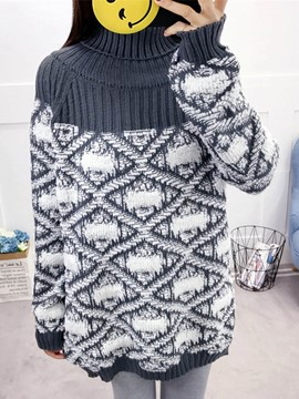 Ericdress Loose Mid-Length High Neck Sweater