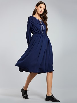 Peter Pan Collar Pleated Women's Day Dress