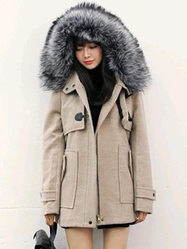 Ericdress Plain Loose Fur Hooded Coat