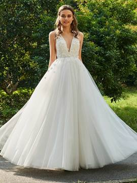 Ericdress V Neck Backless Tulle Wedding Dress