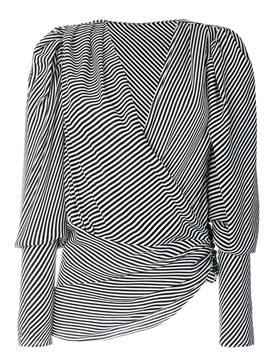 Ericdress V-Neck Cropped Pleated Blouse