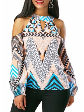 Ericdress Cold Shoulder Geometric Lantern Sleeve Shirt