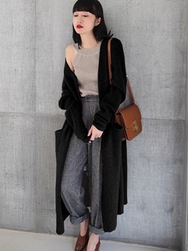 Ericdress Loose Plain Long Cardigan Sweater