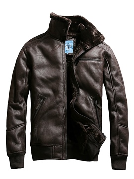 Ericdress Stand Collar Thicken Leather Men's Winter Jacket
