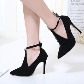 Ericdress Hollow Buckle Patchwork Plain Stiletto Heel Pumps