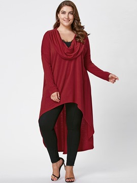 Ericdress Plus-Size Plain Long Cropped T-shirt