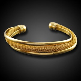 Ericdress Luxurious 18K Gold Plating OL Open Bracelet for Men