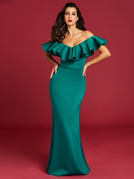 Ericdress Ruffle Slash Neck Backless Maxi Dress