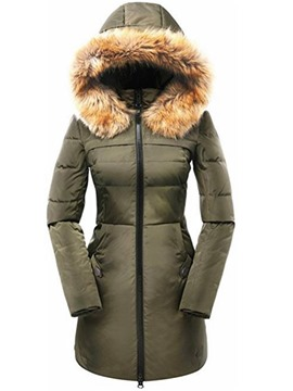 Ericdress Slim Plain Mid-Length Fur Hooded Coat