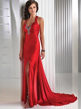 Ericdress V-Neck Backless Floor-Length Maxi Dress