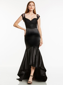 Ericdress V Neck Cap Sleeves Mermaid Evening Dress