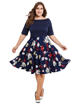 Ericdress Plus Size Floral Print Half Sleeve A Line Dress