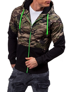Ericdress Hooded Zipper Camouflage Men's Hoodie
