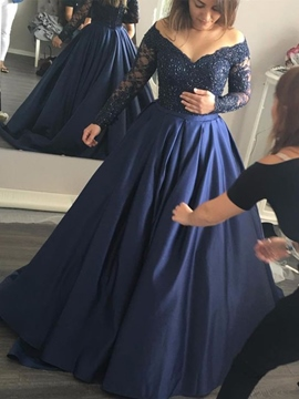 Ericdress Off The Shoulder Long Sleeves Appliques Beaded Evening Dress