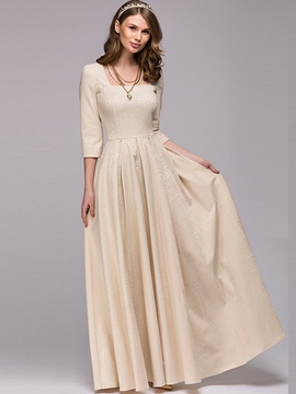 Ericdress Square Neck Expansion Plain Maxi Dress