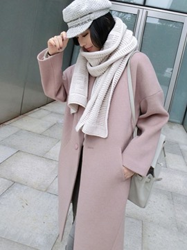 Ericdress Plain Lapel One Button Coat