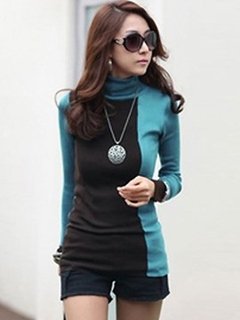 Ericdress High Neck Patchwork Mid-Length Sweater