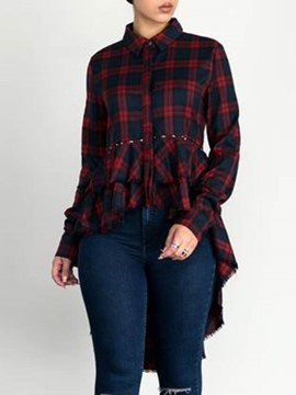 Ericdress Plaid Single-Breasted Cropped Blouse