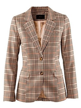 Ericdress Plaid Slim Single-Breasted Blazer