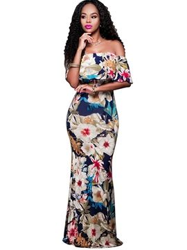 Ericdress Floral Print Slash Neck Bodycon Maxi Dress