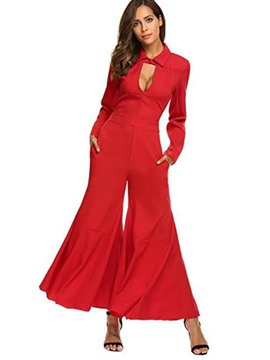 Ericdress Slim Wide Leg Women's Jumpsuit