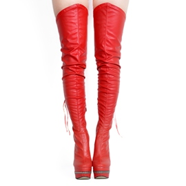 Ericdress Hot Plain Lace-Up Stiletto Heel Thigh High Boots