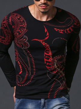 Ericdress Round Neck Print Long Sleeve Slim Men's T-Shirt