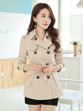 Ericdress Slim Double-Breasted Mid-Length Trench Coat