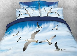 Vivilinen 3D Folk of Seagulls Flying in the Blue Sky 4-Piece Bedding Sets/Duvet Covers