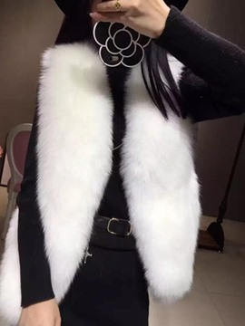 Ericdress Plain I Type Faux Fur Vest