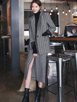 Ericdress Stripe Notched Lapel Jacket and Skirt Women's Suit